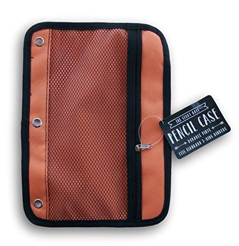 3-Ring Binder Canvas Pencil Case Storage Pouch Orange