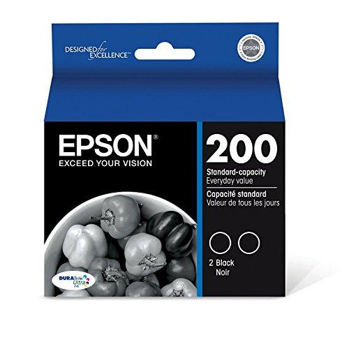 2 Pack Genuine OEM Epson 200 T200120 Black Ink Cartridge - 175 Yield