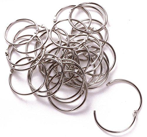 Shapenty 2 Inch50mm Large Metal Scrapbooking Book Loose Leaf Binder Ring Clip Bulk Key Chain Ring Holder for Photo Paper Card Organization 30PCS