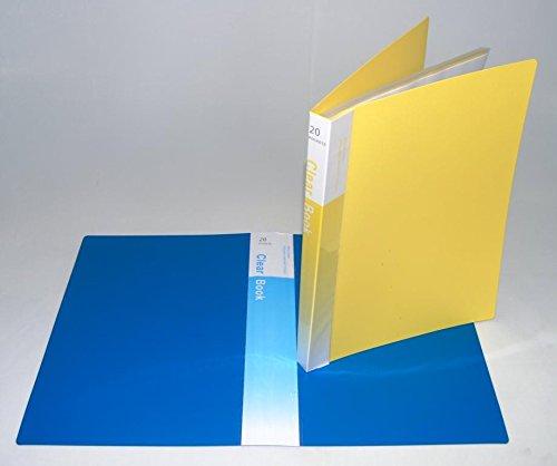 GlobalDeli Premum Presentation Book Pack of 2 Booklet Binder Blue and Yellow Color Binder Sleeves Size 20 Sleeves Portfolio Folder