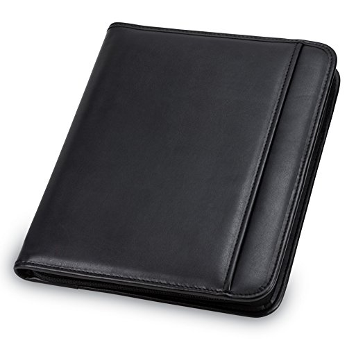 Samsill Professional Padfolio - Resume Portfolio  Business Portfolio with Secure Zippered Closure 101 Inch Tablet Sleeve 85 x11 Writing Pad Black