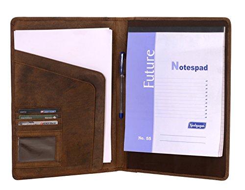 KomalC Genuine Leather Business Portfolio Personal Organizer  Luxury Leather Padfolio  Brown Leather Folder