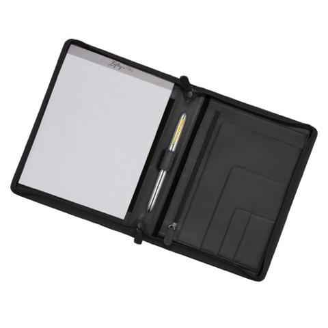 Leftys Black Zipper Left-handed Eco-leather Padfolio Plus Kyocera Pen