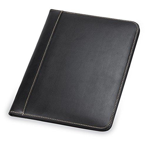 Samsill Contrast Stitch Leather Padfolio – Lightweight Stylish Business Portfolio for Men Women – Resume Portfolio 85 x 11 Writing Pad Black