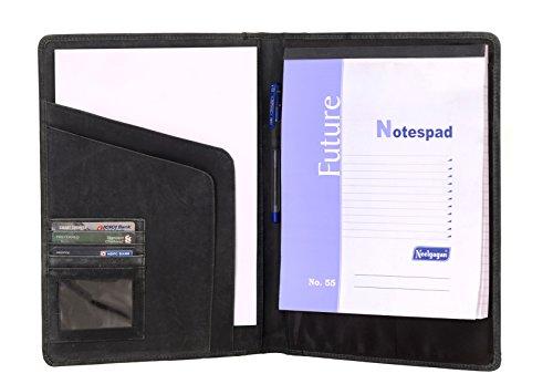 KomalC Genuine Leather Business Portfolio Personal Organizer  Luxury Leather Padfolio  Black Leather Folder
