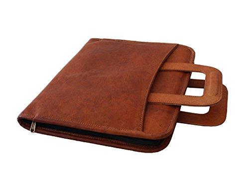 LUST Leather Business Portfolio Hidden Briefcase Handle leather folder Leather Padfolio Zippered close personal organizer Brown