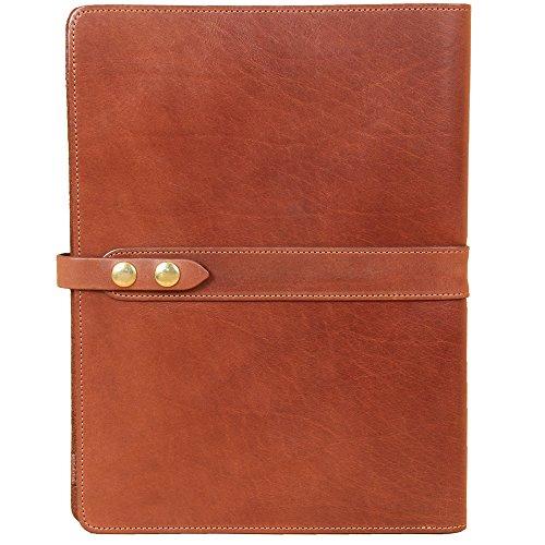 Left-Hand Leather Business Portfolio Notebook Folio Writing Notepad Brown USA