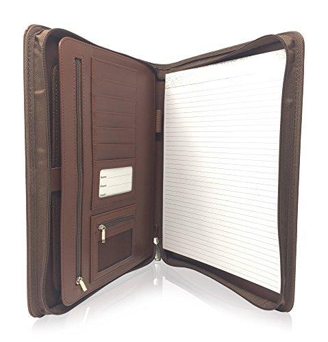 Zippered Leather Business Portfolio Padfolio – Professional Dark Brown PU Leather Portfolio Binder Organizer Folder with 105 Inch Tablet Sleeve by Lautus Designs