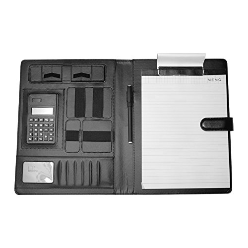 Boshiho Job Interview Executive Portfolio Padfolio Organizer Leather Documents Holder with Calculator Notepad and Cellphone Holder A4