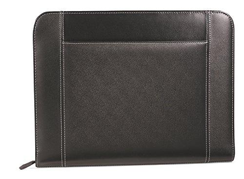 Gemline Eton Executive Black Leather Zippered Padfolio w Pocket for Tablets