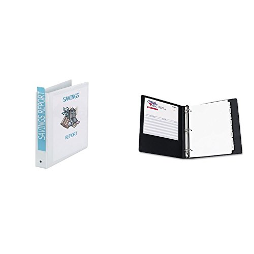 Avery Economy View Binder with 15 Inch Round Ring White 1 Binder 5726 and Avery Economy View Binder with 15 Inch Round Ring Black 5725