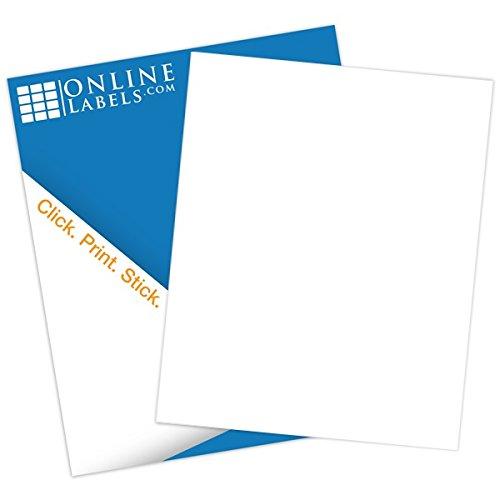 Full Sheet Labels - 85 x 11 - Pack 100 Sheets - InkjetLaser Printers - Vertical Back Slit for Easy Peeling - Online Labels