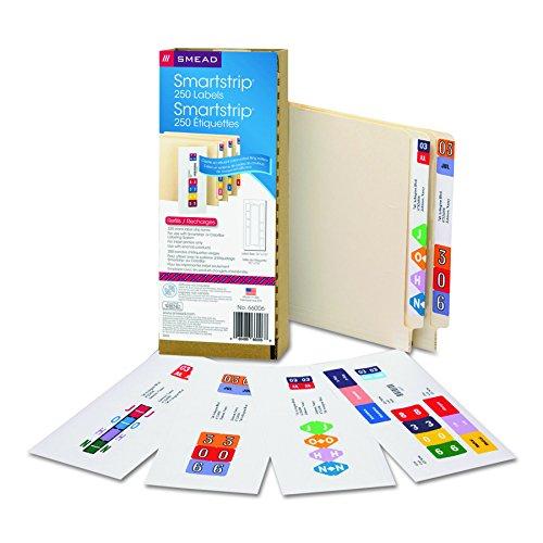 Smead Smartstrip Labels for Inkjet Printers End Tab Label Refill Pack 250 Labels per Pack 66006