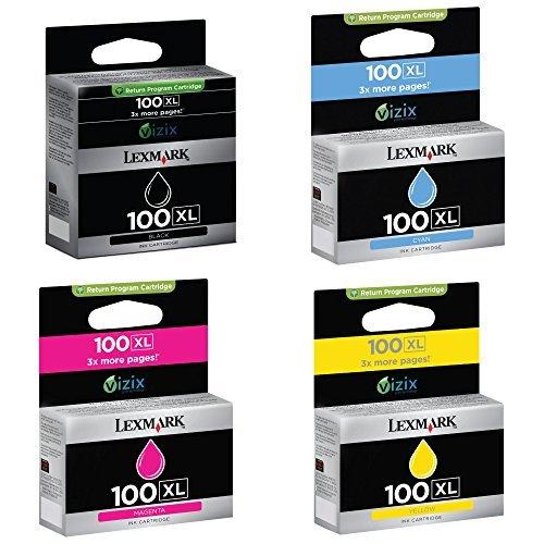 Lexmark 100XL Bundle of Black Cyan Magenta Yellow Genuine Inkjet Cartridges