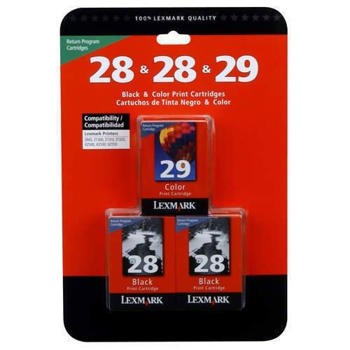 Lexmark Ink Cartridges Value Pack - 2 Black 1 Color 28 28 29 - For Printers X2500 X2530 X2550 X5070 X5075 X5320 X5435 X5490 X5495 Z845 Z1300 Z1310 Z1320