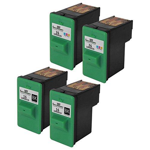 Speedy Inks - Remanufactured Set of 4 Lexmark Ink Cartridges 2 x 10N0016 2 x 10N0026