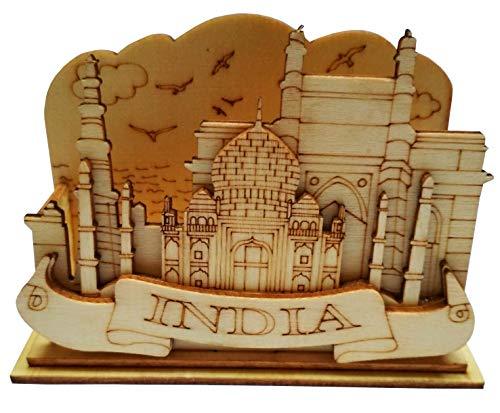 Purpledip Wooden Visiting Cards Holder Taj Mahal 11670