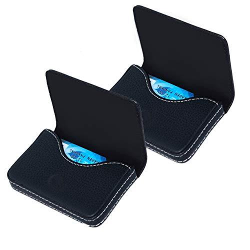 SAITECH IT 2 Pack Pocket Sized Stitched Leather Credit Debit Visiting Business Card Holder for Men Women -Black