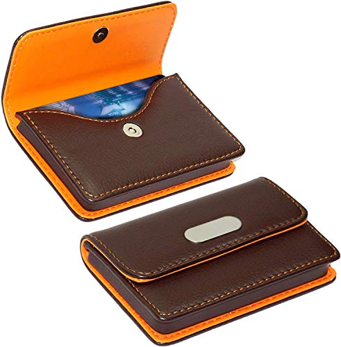 SAITECH IT Pocket Sized Stitched Leather Credit Debit Visiting Business Card Holder For Men Women Orange Brown