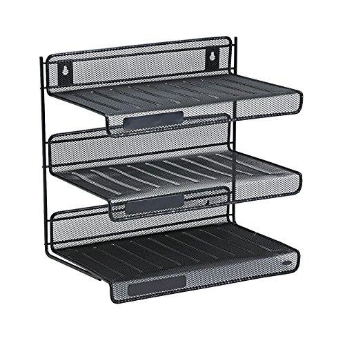 Rolodex Mesh Collection 3-Tier Desk Shelf Letter-Size Black 22341