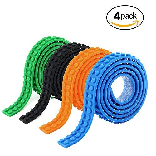 4 Rolls Building Blocks Tape Compatible With Lego Block Construction Self-Adhesive tape Black Green Orange Blue