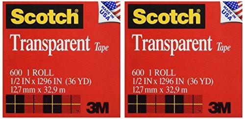 Scotch Transparent Tape 12 x 1296 Inches 2 Rolls 600H2