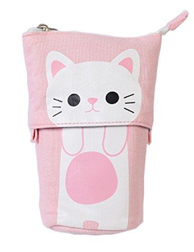 iSuperb Transformer Stand Store Pencil Holder CanvasPU Cartoon Cute Cat Telescopic Pencil Pouch Bag Stationery Pen Case Box with Zipper Closure 75 x 49 x 30inch41x 30inch Pink