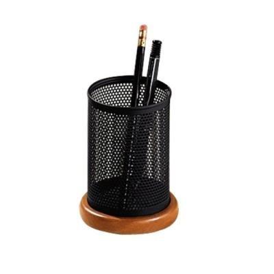 Rolodex Distinctions Metal Wood Pencil Cup 3-12 Diameter x 4-12 BlackCherry 1813862