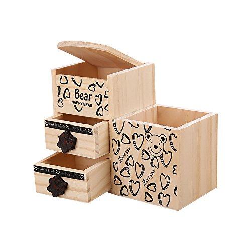 Zhi Jin Cute Bear Pattern Wood Pencil Pen Holder Cup Organizer Double Drawers Storage Box for Desk Desktop Stationery School Office Supplies Gift