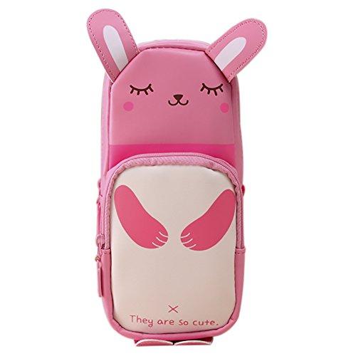 Funnuf PU Leather Cute Rabbit Style Large Capacity Stationery Bag Pen Holder Organizer Pencil Case Pen Bag