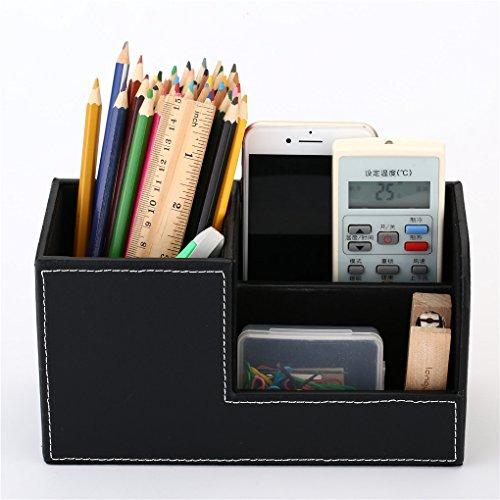 YOOSKE Home Office High Grade PU Leather Pen Pencil Box Holder Desktop Remote Storage Box Stationery Organizer Case ContainerDark black