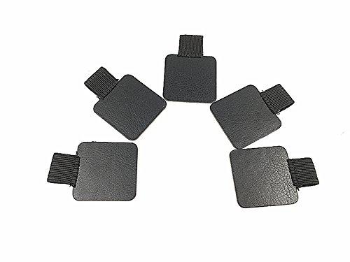 Kinteshun Travelers Elastic Loop Pen Holder with PU Leather Self-adhesive Pad for Notebook5pcsBlack