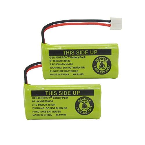 Geilienergy Rechargeable Battery For AT&T and Vtech Phones BT-8300  BATT-6010  BT18433  BT184342  BT28433  BT284342  89-1326-00-00  89-1330-01-00  CPH-515D Pack of 2