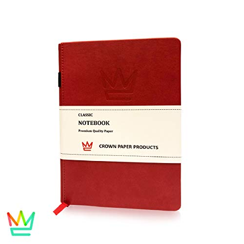 Classic Red Leather NotebookJournal All Compositions  Pen Loop Holder  Front  Back Pocket  Page Divider  Elastic Band  192 Pages Dotted  Hardcover 84 x 57 in A5  Crown Paper Products