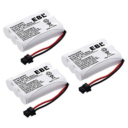 EBL BT-446 Rechargeable Cordless Phone Replacement Batteries for Uniden BT-446 BT-1005 BT1005 36V 1000mAh NiMH Pack of 3