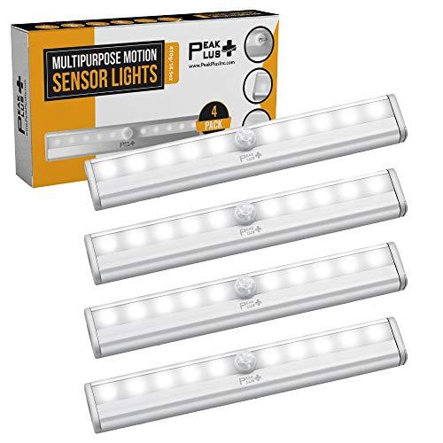 LED Motion Sensor Light 10 LED Battery Operated Lights - LED Under Cabinet Lighting - Stick On Lights Magnetic Wireless Motion Sensor Night Light for Closet Counter Stairway 4 Pack by PeakPlus
