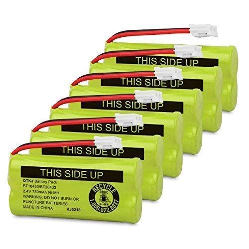 QTKJ BT18433 BT28433 BT184342 BT284342 BT-1011 Cordless Phone Battery for Vtech CS6209 CS6219 CS6229 DS6301 DS6101 BT-1018 BT-1022 AT&T CL80109 BT-6010 BT-8000 BT-8300 Uniden DCX400 Handset 6-Pack