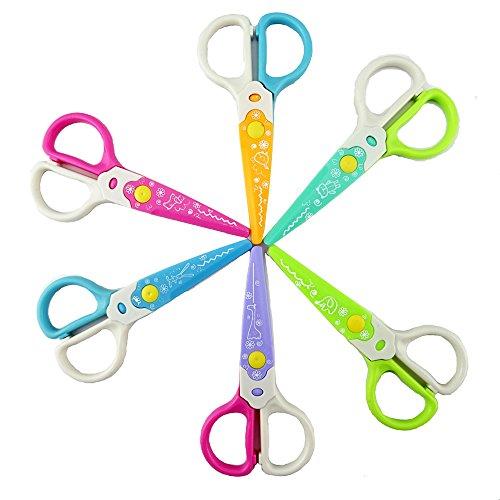Honbay 6Pcs Plastic Safety Scissors Set for Kids Toddlers Preschool Classroom Training Construction Paper Crafts