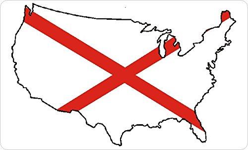 Mini Sticker Pack Alabama Self-stick Flag Labels 33x20mm Rectangle  USA US State Stickers