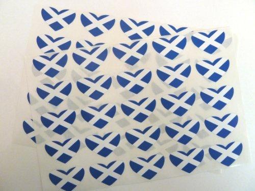 Minilabel Pack Of 50  Heart Shape 35X23mm  Scotland Self-Stick Flag Stickers Scottish St Andrews Labels