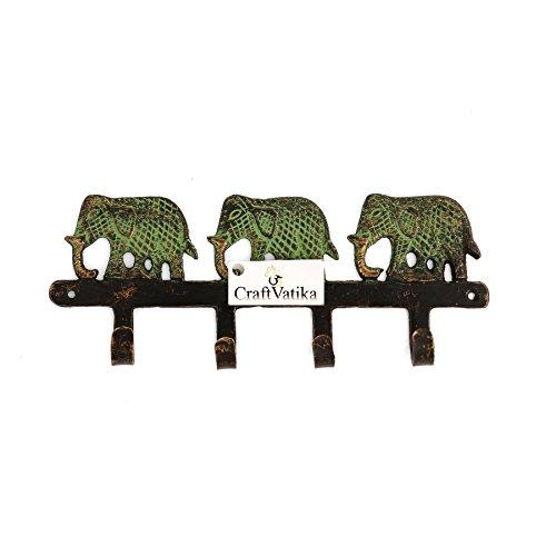 CraftVatika Brass Antique Key Hook Holder Elephant Design Wall Mount Key Hanger