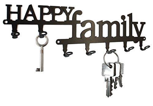Key holder -  Happy Family - beautiful key hook for wall - 7 hooks