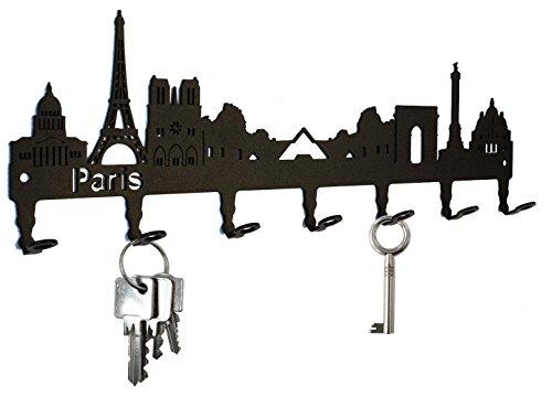 Key holder  hook Skyline Paris - France key hooks for wall hanger - 7 hooks black metal