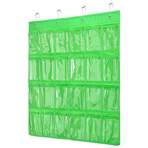 Classroom Pocket Chart Transparent Pocket Classroom Organizer Pocket Chart for Cell Phones Holder Door Hanging Calculator Organizer with 4 Metal Hooks Classroom Pocket Chart Green-24grid