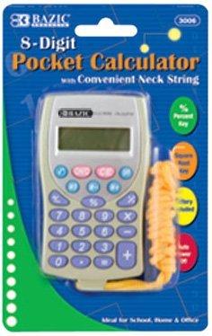 Pocket Size Calculator wNeck String 8-Digit Pack of 6