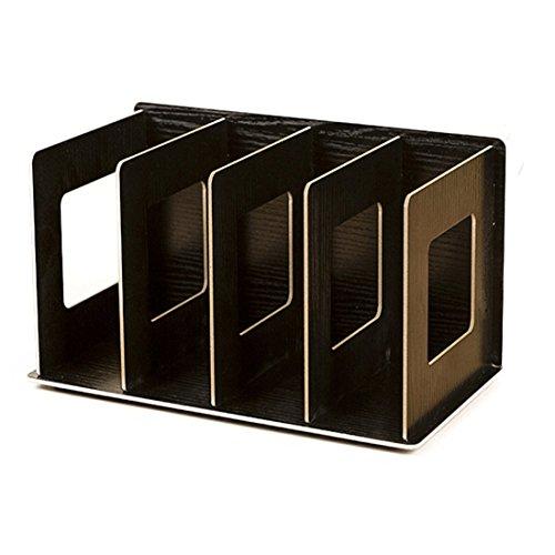Desktop Organizer Peleustech Wooden DIY Office Desktop Book File Storage Box Holder - Black