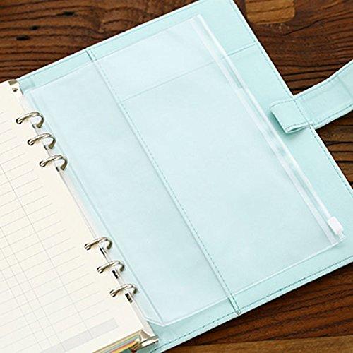 DadaCraftsTM 4-Packs Clear Plastic Zipper Pockets for 6-Ring Notebook Binder A5 Size