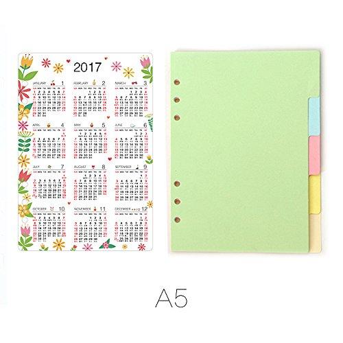 DadaCraftsTM A5 6-Holes Ring Binder Plastic Floral Calendar Divider  5 Sheets Index Dividers