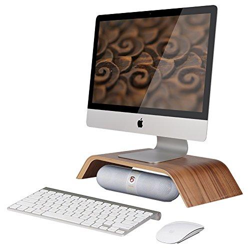 Samdi Wooden Computer Monitor Stand Save Space Desktop Riser for Computers LCD Monitors Laptop PC iMac Notebook Apple Macbook Black Walnut