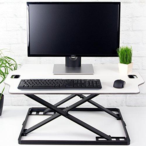 VIVO White Height Adjustable Standing 32 Desk Sit Stand Converter Tabletop Monitor Laptop Riser Platform Station DESK-V000H